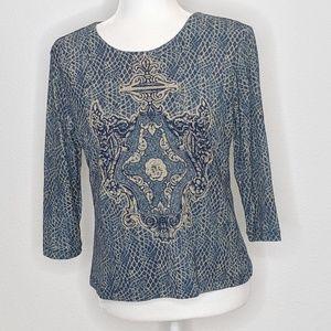 Style & Co. Petite Women's Blouse Lined Blue Med